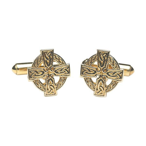 Celtic Cross Cuff Links - Celtic Cuff-Links - Rings from Ireland. This pair of cuff links is inspired by the great Celtic Crosses of Ireland such as those found at Monasterboice. The Celtic Cross featured is a fine example of insular art