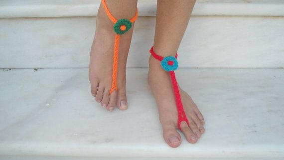 Anklets, Barefoot sandals handmade crochet, modern color barefoot bracelet.stylish beach wear, barefoot bracelet, party favor, yarn bracelet