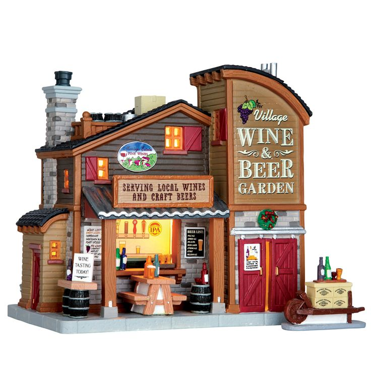 Lemax Village Wine & Beer Garden SKU# 65111 Released in 2016 as a Lighted Building for the Caddington Collection.