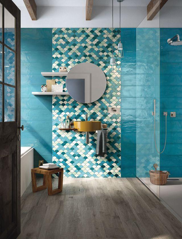 Carrelage de salle de bains : inspiration méditerranéenne.