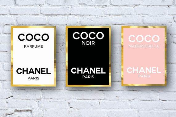 3 coco chanel perfume logos diy interior pinterest. Black Bedroom Furniture Sets. Home Design Ideas