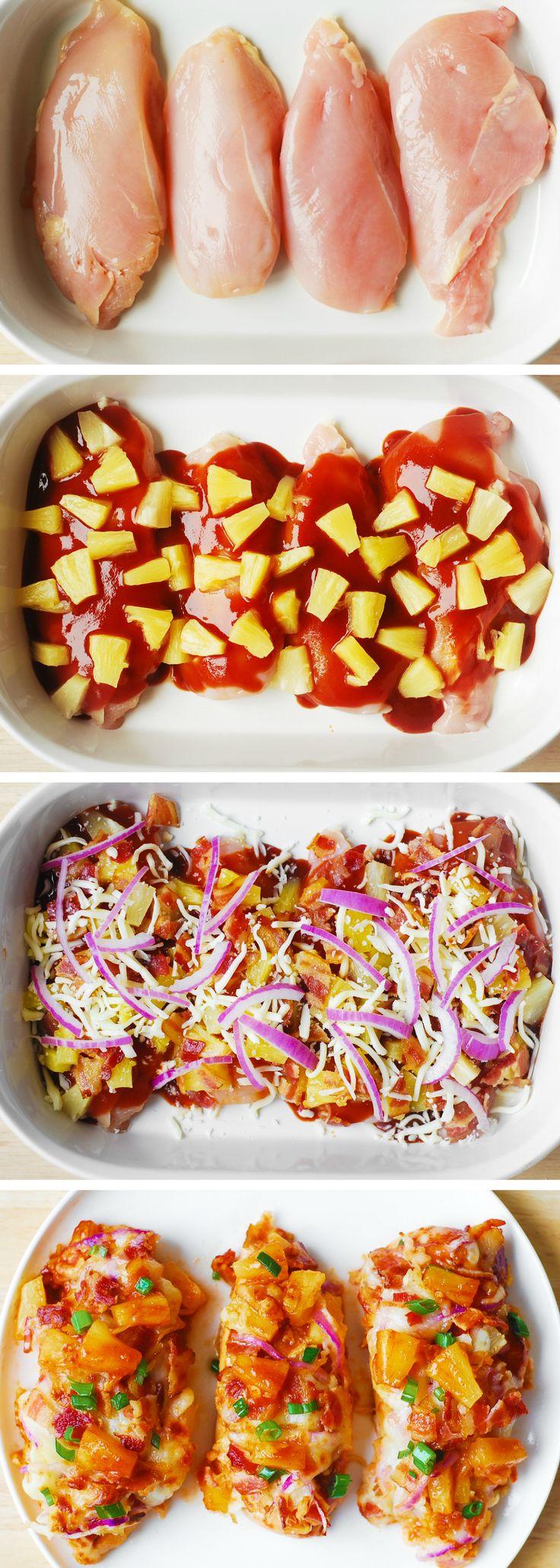 Bacon BBQ Pineapple Chicken Bake #chicken #bake