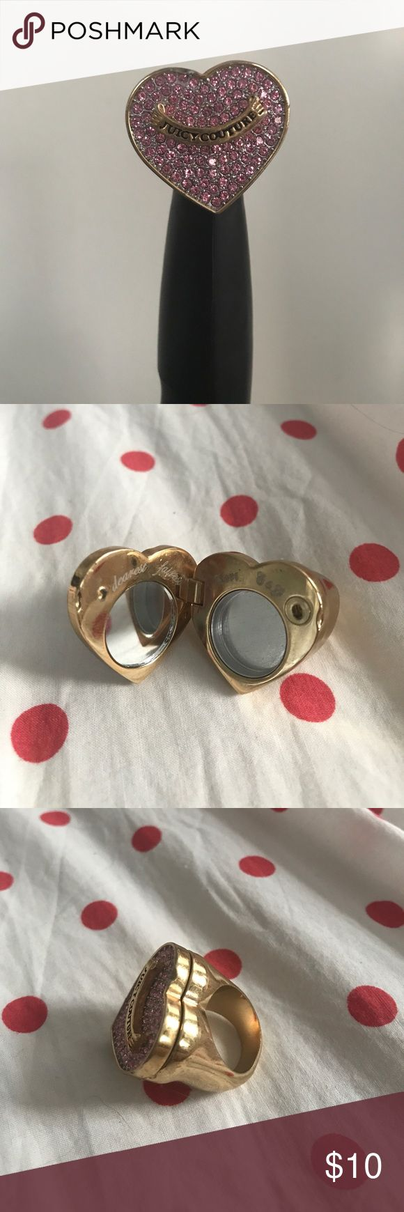 Juicy Couture Ring Used. All lipgloss is taken out. Has small ding at the top of heart. I tried to capture it in the picture. Does not latch closed, meaning the top comes open randomly. Still cute. Still has all the jewels in it. I wear size 7 in rings so it's about that size. Juicy Couture Jewelry Rings