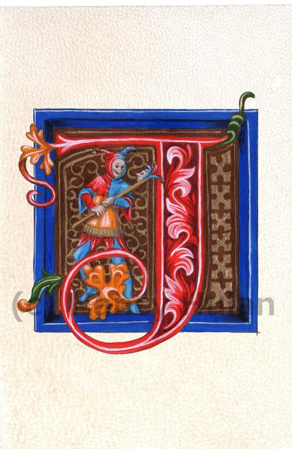 Alfabeto letra J letra iluminado Medieval J por ArteOfTheBooke