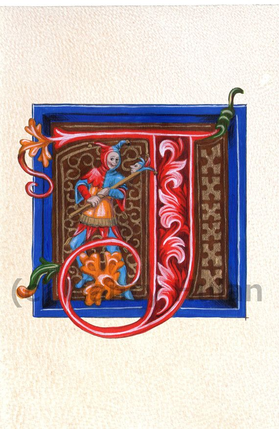 Alphabet Letter J, Medieval Illuminated Letter J, Painted Initial J, Medieval Alphabet, Renaissance Alphabet Fine Art Print
