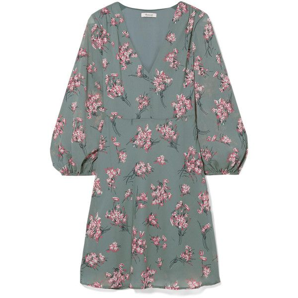 Madewell Tiered floral-print voile mini dress (1,140 CNY) ❤ liked on Polyvore featuring dresses, green, short dresses, green dress, green mini dress, floral day dress and short floral dresses