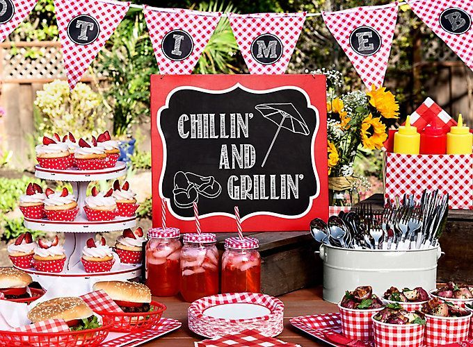 Outdoor Bbq Buffet Table Idea Gingham Picnic Food And Drink Ideas Summer Party Ideas Theme Party Id Picnic Themed Parties Birthday Bbq Bbq Birthday Party