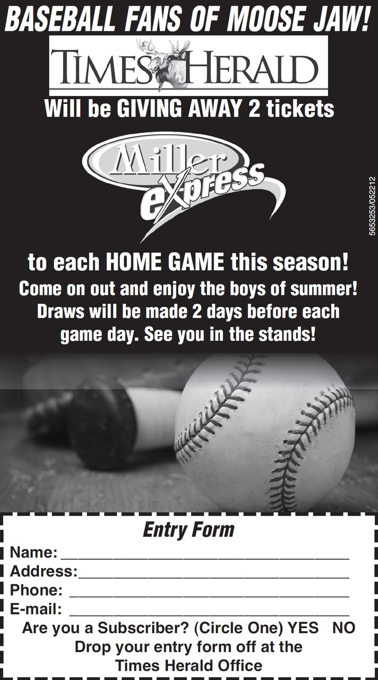ATTN MJ Baseball Fans! To enter online, provide the required info and submit to Darlene Catling at darlene@mjtimes.sk.ca