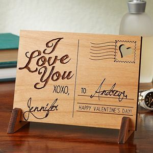 """This is BEAUTIFUL! It's a Romantic Wood Postcard that you can have engraved with your names and any message - great wedding gift or Valentine's day gift idea ... or great 5th Anniversary Gift idea because """"Wood"""" is the traditional 5th anniversary gift!:"""