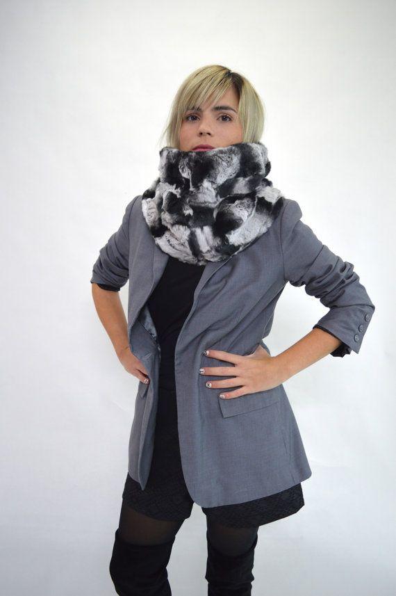 Real fur rex rabbit cowl real fur collar loop fur scarf by BeFur