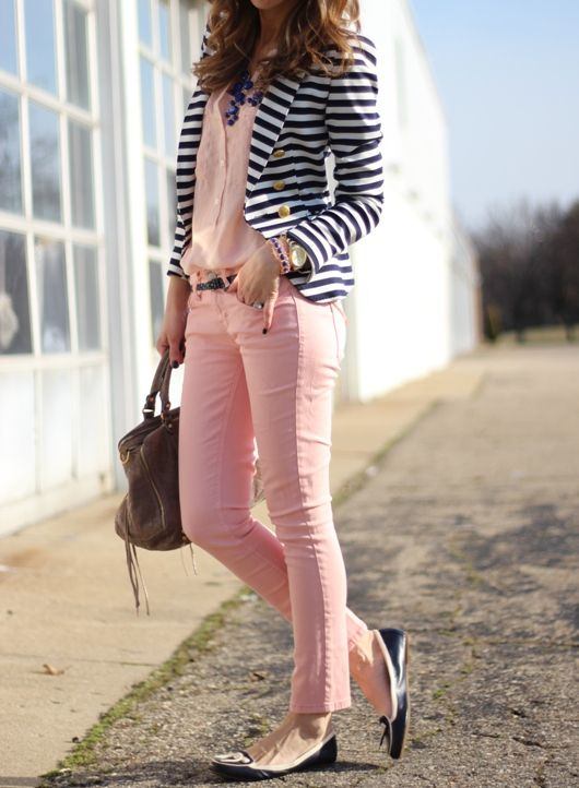 striped blazer, pink jeans, white top, grey and blue flats.