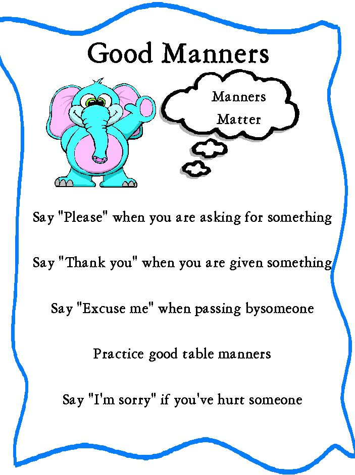 good manners worksheets for kids