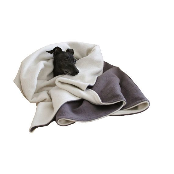 ETSY. Organic Cotton Fleece Dog Blanket, Washable Dog Blanket, Grey & Beige