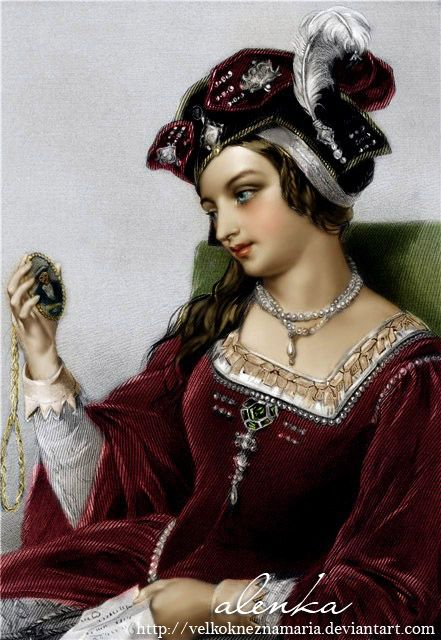 Catherine Parr. Originally black and white image coloured by me. (I´m not the author of the drawing)