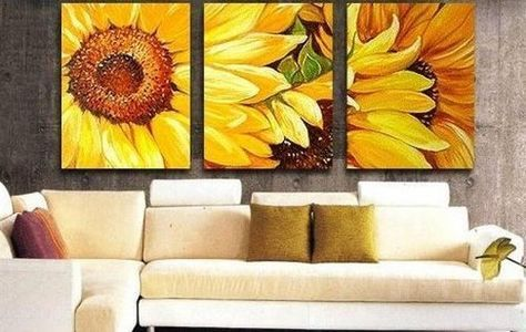 100% Hand Painted Oil Painting 3 Piece Canvas Art Modern Art Wall Art Deco Home Decoration Group Painting Artwork Yellow Sunflower Painting (Unstretch No Frame) @ Lauren Young