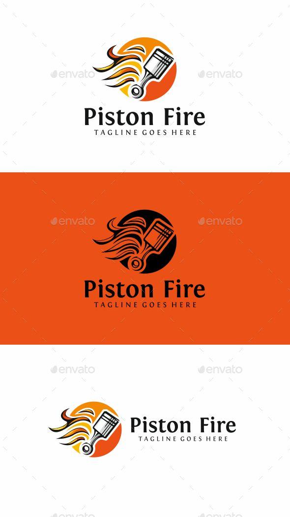 Piston Fire Logo Template Vector EPS, AI Illustrator Logo