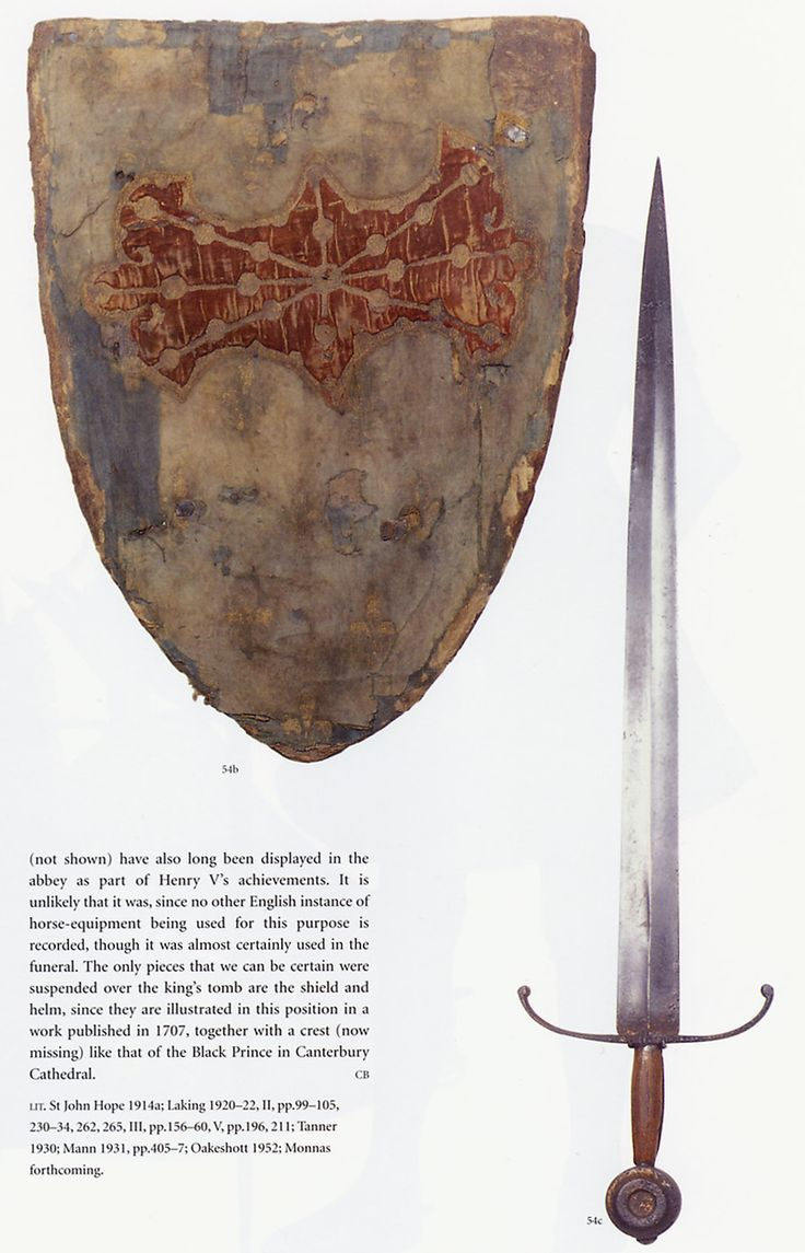 The sword and shield found at the tomb of Henry V. I admire the hollow-ground blade.  Oakshott type XIII