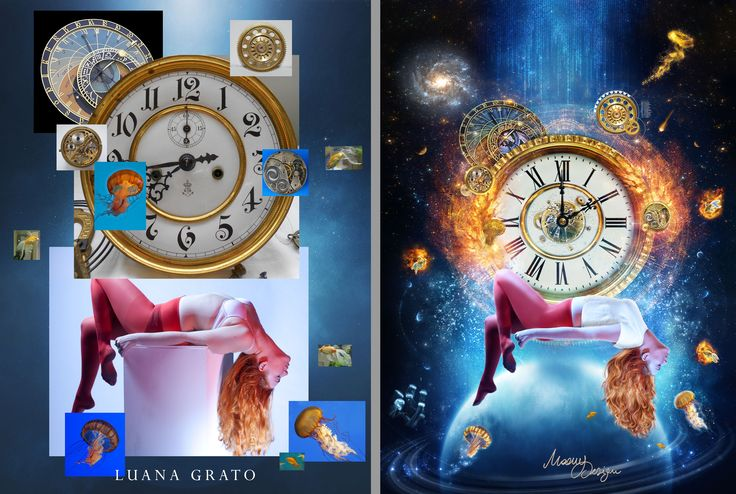 """Before&after """"Sogno. Spazio. Realtà""""   #moonydesign #luanagrato #digitalart #phtomanipulation #photoshop #dream #space #reality #time #goldfish #planet #gears #before&after"""