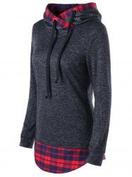 Marled Plaid Trim Curved Hoodie - DARK GREY M