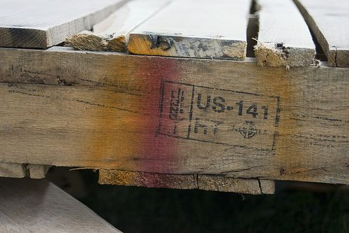 Example of a Heat Treated (HT) stamp on pallets that are safe to use