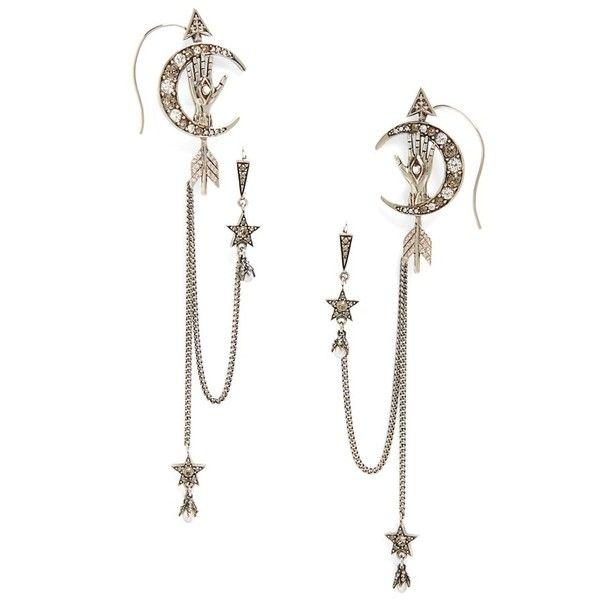 Women's Alexander Mcqueen Moon Ear Chains found on Polyvore featuring jewelry, earrings, silver, crystal stud earrings, cuff earrings, drusy pendant, swarovski crystal stud earrings and swarovski crystal jewelry
