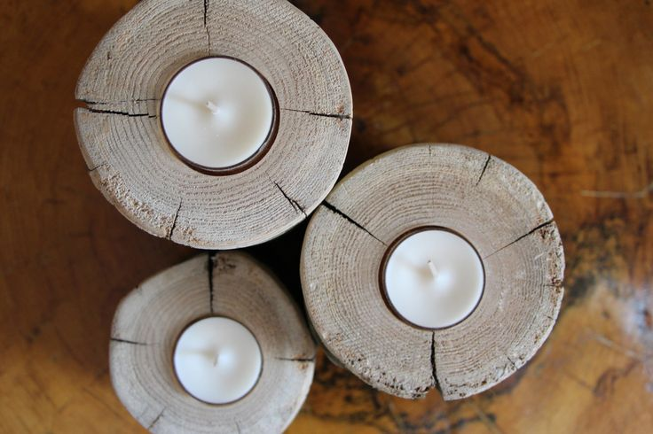 Cedar Wood Candle Holder Set / Trio (natural)! Get 10% off with coupon code: PINTEREST10 http://etsy.me/1hgqiem