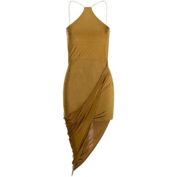Boohoo Petite Amy Strappy Drape Asymmetric Dress | Boohoo ($10) ❤ liked on Polyvore featuring dresses, draped cocktail dress, petite dresses, strap dress, asymmetrical draped dress and boohoo dresses