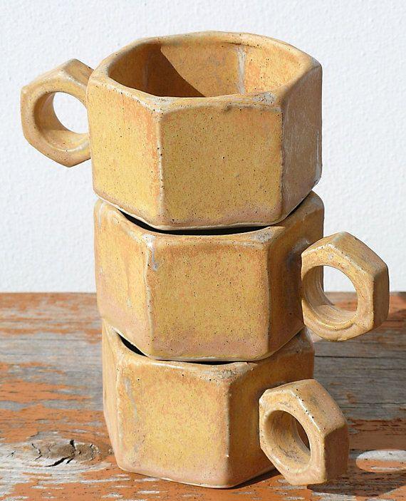 Espresso Cup Trio Rusted Bolt Design by LightaFire on Etsy, $18.00