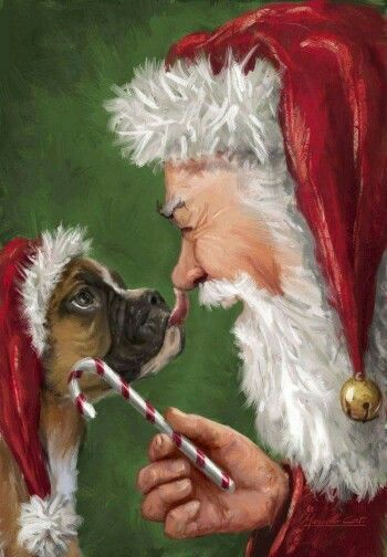 Christmas Boxer Dog Painting with Santa, Too Cute #BoxerMom …