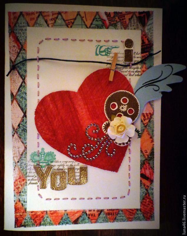 Здравствуйте! Хочу предложить вам сделать вот такую открытку- валентинку. Для этого нам понадобится: 2-а листа акварельной бумаги, скрап бумага, дизайнерская бумага, скотчи двусторонние простой и объёмный, штампы, чернильные подушечки, пудра для эмбоссинга, натирки, нитки х/б, игла, вощёный шнур, деревянная прищепка, бумажный цветок, стразы-завитки, линейка, карандаш, портновский копир,…