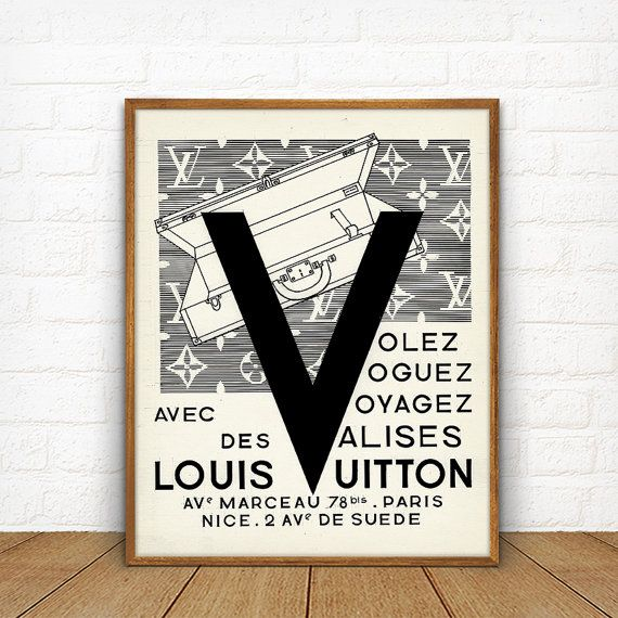 Louis Vuitton Vintage imprimable, Français de la mode mur Decor, valise Vintage Ad, voyage Antique affiche, impression d'Art cadeau Louis Vuitton Fashion