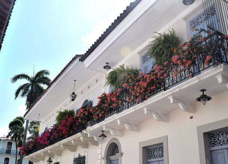 Panama City, casco antiguo, balcony, flowers, summer, Central America.
