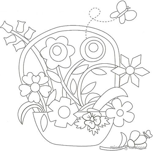 Flower Basket Line Drawing : Images about embroidery baskets vases etc on