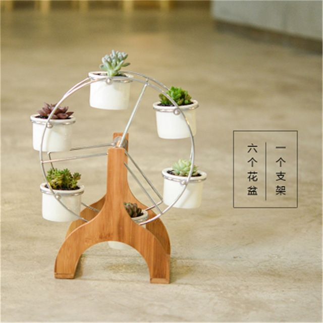 Оригинальность колесо обозрения ремесел творческие цветочные горшки маленькие украшения декоративная коробка для хранения современный домашний декор с бамбуковый поднос
