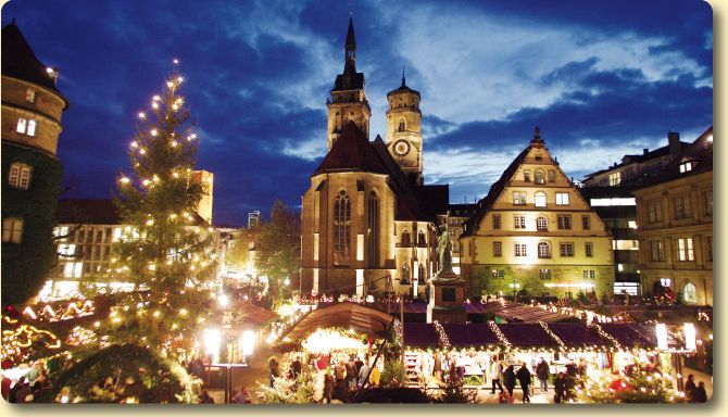 Stuttgart, Germany. Their Christmas Market is unforgettable. Possibly the coziest place on earth.