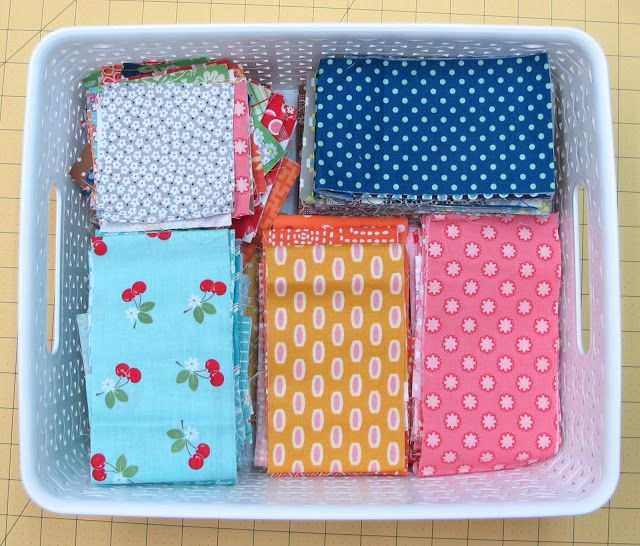 "great tutorial on organizing and building an organized scrap fabric library for all of those somedayscrappy quilt projects that we all want to make . . . Bee In My Bonnet  The three sizes that I use the most and keep in these small baskets are 1 1/2"" strips and squares... 2 1/2"" strips and squares...  And 3 1/2"" strips and squares. (I also keep 5"", 7"" and 10"" squares)"