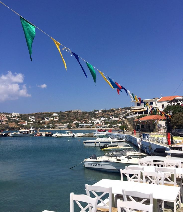 The beautiful town of Batsi on the island of Andros is full of colour