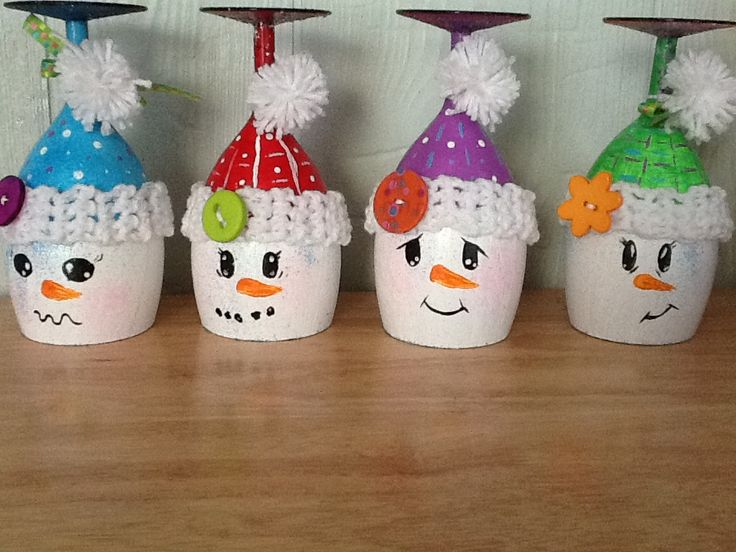 wineglass snowmen candle holders