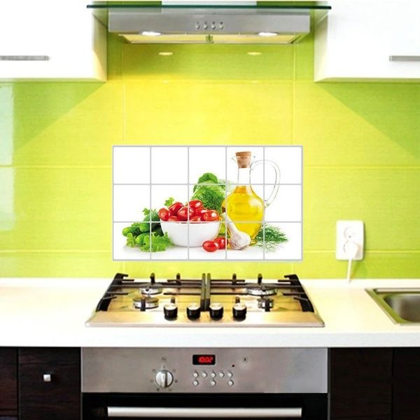 Anti-oil Waterproof Stain Lecythus Wall Sticker Tile Decals For Kitchen Supply