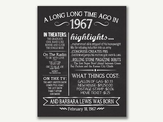 Het jaar 1967, gepersonaliseerde 50e verjaardag printbare Poster, afdrukbare 50e verjaardag ondertekenen, leuke feiten 1967, 50ste Gift van de verjaardag, digitaal bestand  DIT OBJECT STAAT VOOR EEN DIGITAAL BESTAND ALLEEN! NIETS ZAL WORDEN VERZONDEN MET DE POST!  WANNEER U EEN JAAR ANDERS DAN MOET VERMELD DE AANKOOP DEZE POSTER OF BERICHT ME: https://www.etsy.com/listing/273573280/adult-birthday-sign-all-about-the-year?ref=listings_manager_grid  U zult met deze gepersonaliseerde schoolbord…