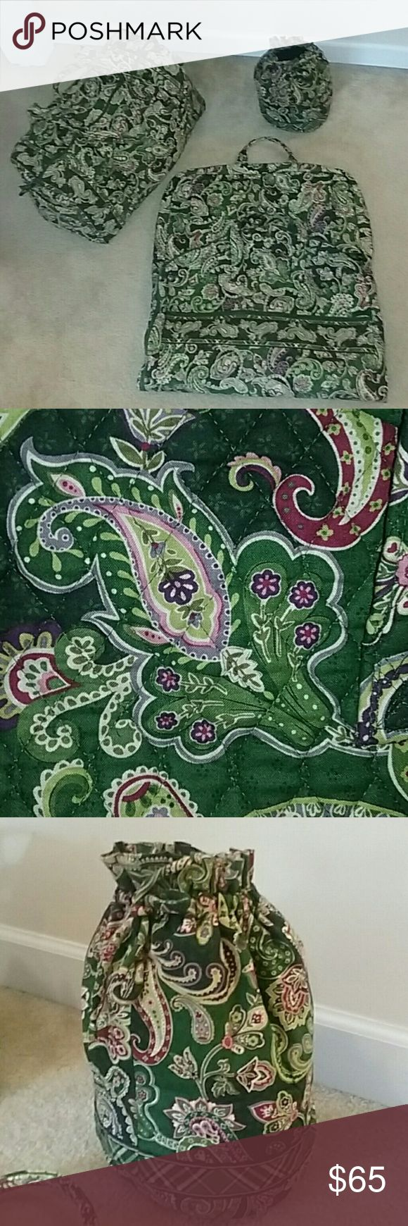 Vera Bradley Travel Set- 3 Piece Green paisley print soft luggage that includes:  garment bag, large duffle and toiletry bag.  Gently used, great shape and a steal of a deal. Vera Bradley Accessories