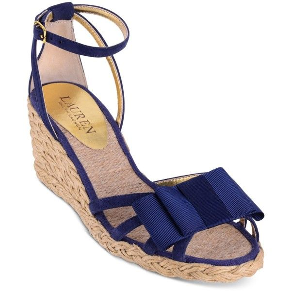 Lauren Ralph Lauren Claudie Wedge Espadrille Sandals ($79) ❤ liked on Polyvore featuring shoes, sandals, modern navy, wedges shoes, strap sandals, wedge sandals, navy wedge espadrilles and navy wedge sandals