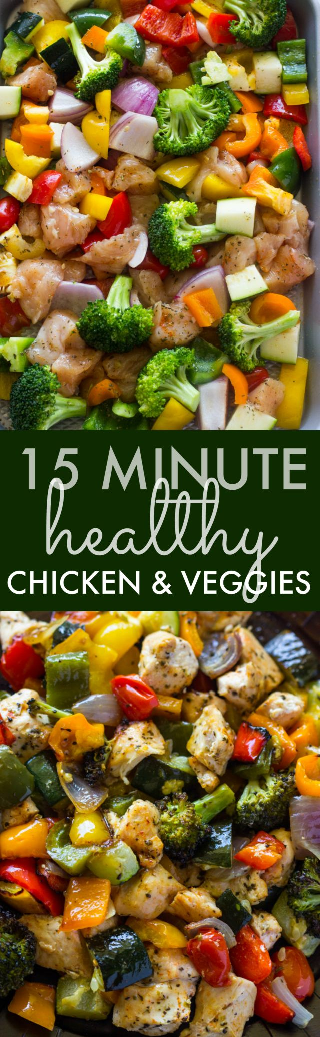 Healthy and flavorful. Oven roasted chicken breasts and rainbow veggies are tender & juicy and ready in 15 minutes.