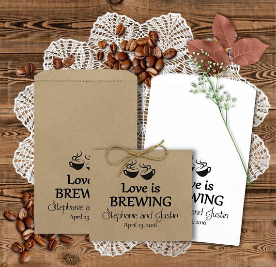Wedding Coffee Bags - Wedding Favors - Coffee Favors - Bridal Shower Favors - Anniversary Favors - Love Is Brewing