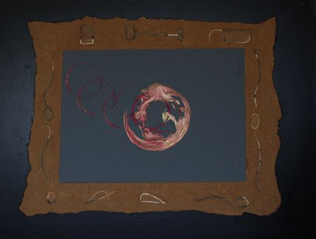 The circle the order and the disorder Reflective fabric, tempera, etched quartz sand, canvas, 90x120 cm, 2005