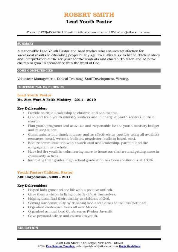 Youth Pastor Resume Samples Qwikresume Resume Template Youth Pastor Pastor