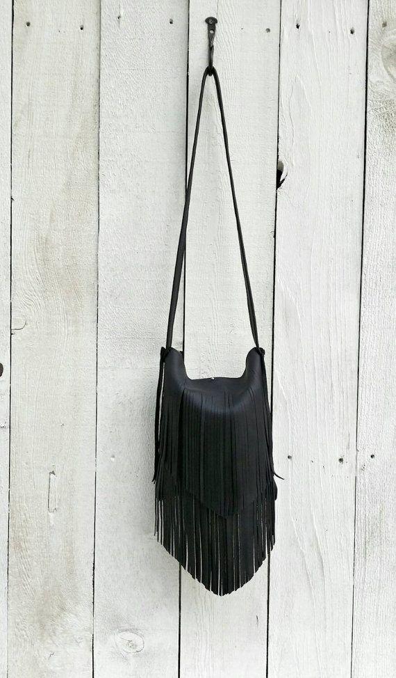 Black Leather Fringed Purse Fringe Handbag Crossbody Only Three Like This Left