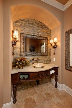 Love the brick work behind the sink!  Mediterranean Bath Design Ideas, Pictures, Remodel and Decor