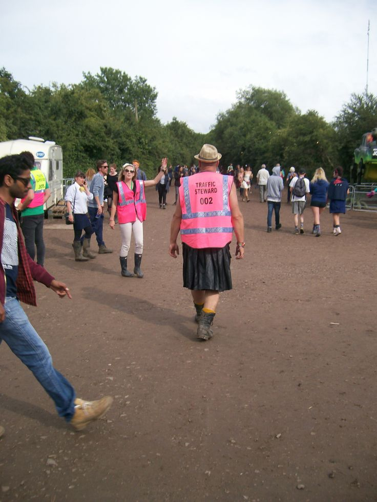 No traffic steward is complete without a leather kilt.  Glastonbury 2015