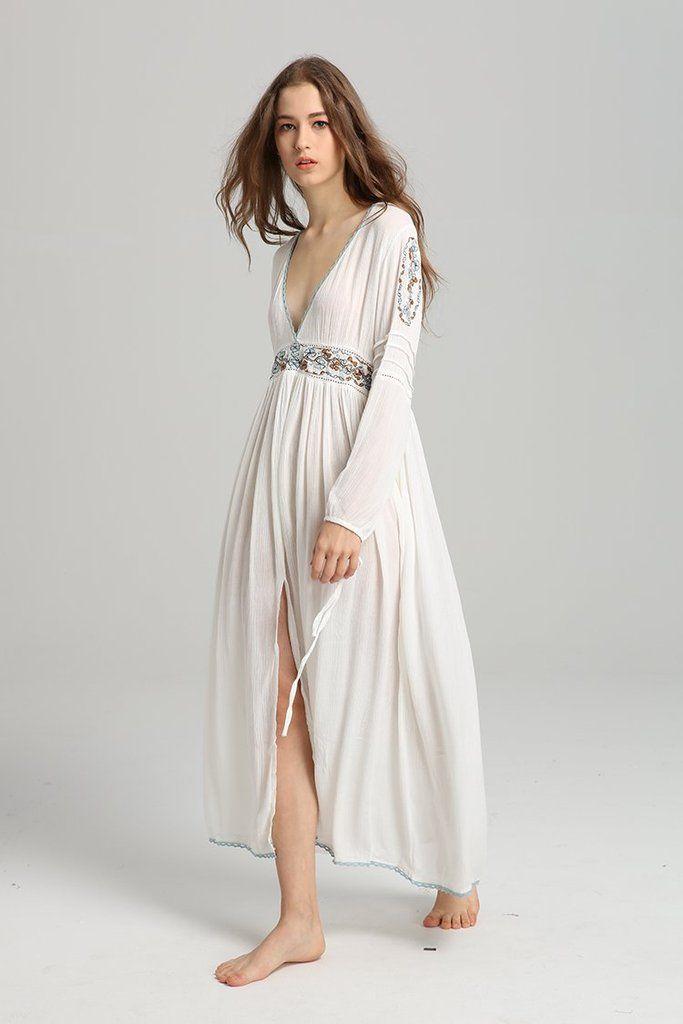 2dfedf22c4 Bohemian Sexy Deep V Neck Long Vintage Cotton Embroidery Dress   boho lace  dresses